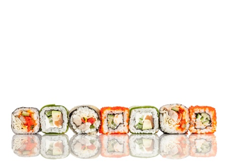 roll: Tasty food. Sushi Roll on a white background