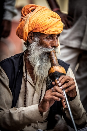 sadhu: Photo street snake charmer. India. Stock Photo