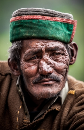 Portrait of an old man of Indian villages. photo