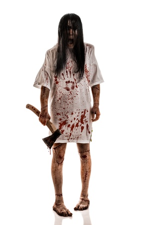 horrific: Crazy woman with an ax in his hands on a white background Stock Photo