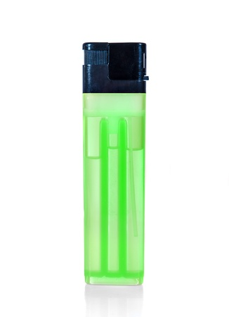 green lighter on a white background Stock Photo - 15160977