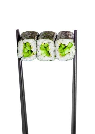 maki sushi: Kappa maki roll. Sushi Roll on a white background