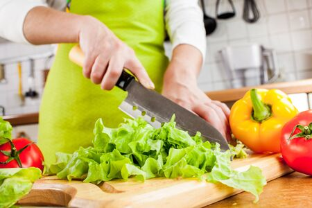 Womans hands cutting lettuce, behind fresh vegetables. photo