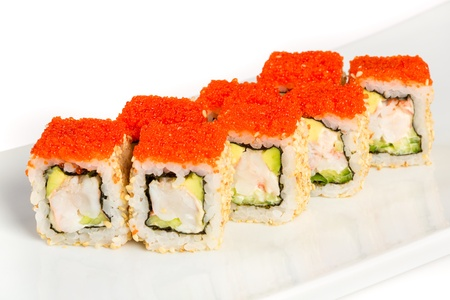 california roll: Japanese Cuisine - Sushi (California Roll) on a white background