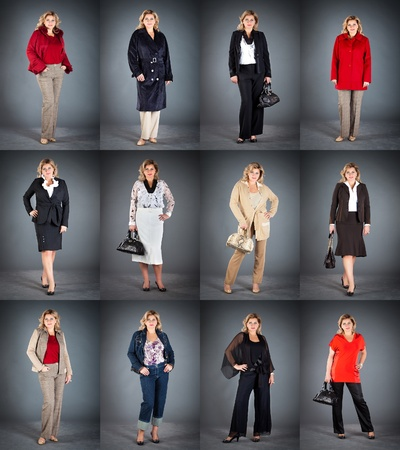 topcoat: collection ladys clothes, woman at a mature age in different clothes