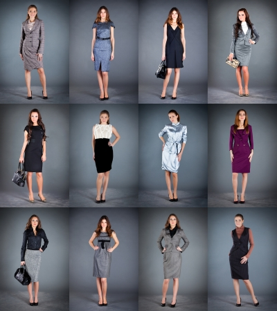 frock coat: girls in different clothes, spring summer collection clothes Stock Photo