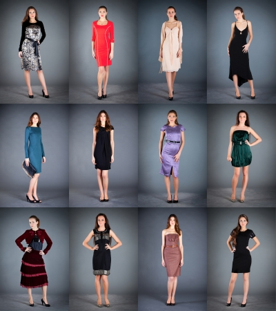 frock coat: Collection of womens dresses on a dark background Stock Photo