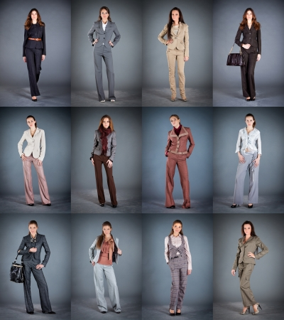 Collection of women's trouser suits on a dark background photo