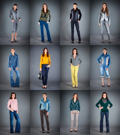 jeans collection lady's clothes a dark background photo