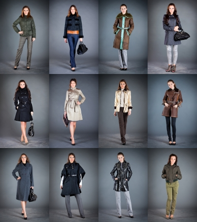 frock coat: Autumn winter collection ladys clothes Stock Photo