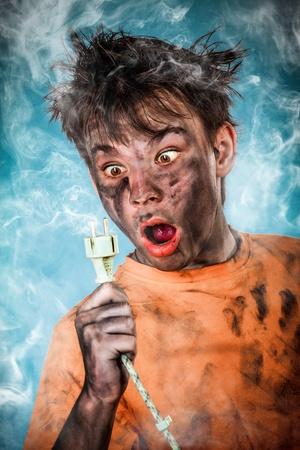 crazy hair: Boy has a electric shock