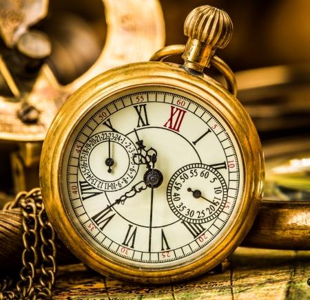 gold watch: Vintage still life. Antique pocket watch.