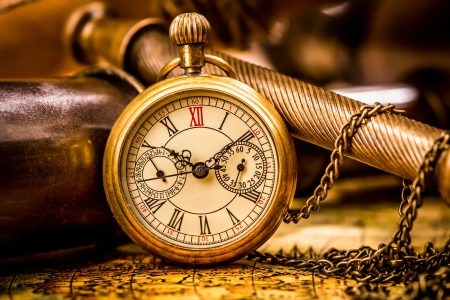 Vintage still life. Antique pocket watch. photo
