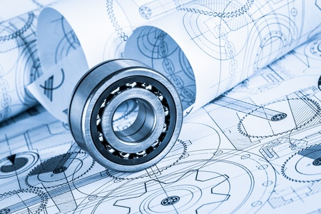 Technical drawings with the bearing in a blue toning photo