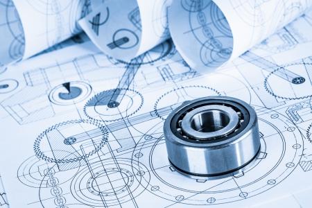 dibujo tecnico: Dibujos técnicos con el cojinete en un tono azul