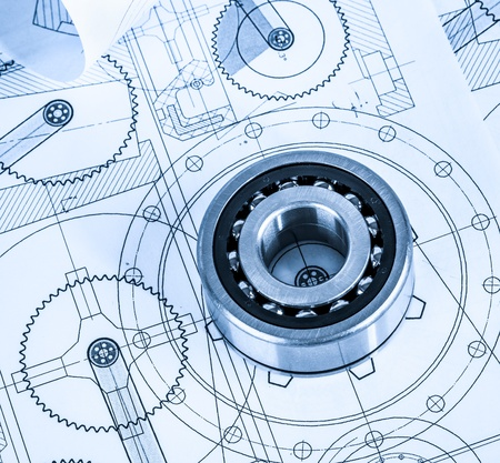 ball bearing: Technical drawings with the bearing in a blue toning