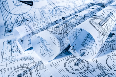 drafting tools: Technical drawings in a blue toning