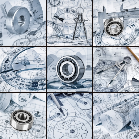 drafting tools: Technical drawings with the bearing in a blue toning