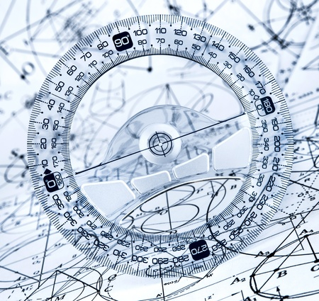 protractor: Protractor on the background of mathematical formulas and algorithms Stock Photo