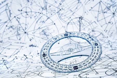 algorithms: Protractor on the background of mathematical formulas and algorithms Stock Photo