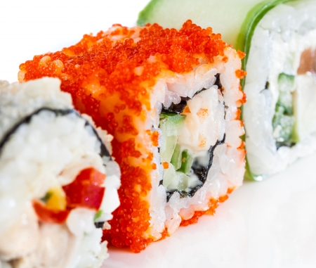 roll bar: Tasty food  Sushi Roll on a white background Stock Photo