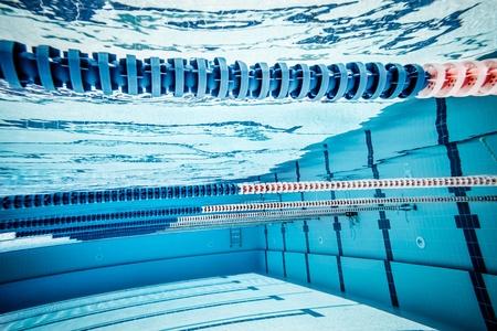 swimming race: swimming pool under water     Stock Photo