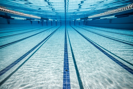 swimming competition: swimming pool under water     Stock Photo