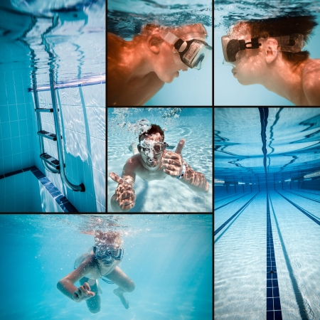 competing: swimming pool under water     Stock Photo