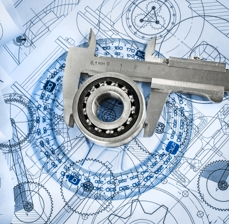 radius: Technical drawings with the bearing in a blue toning