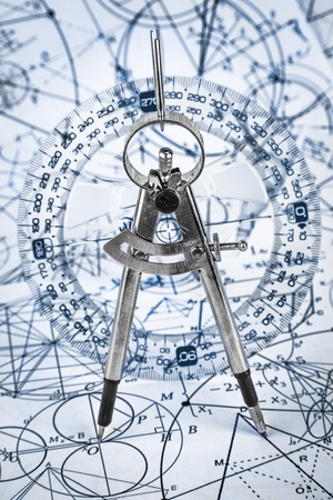 radius: Protractor on the background of mathematical formulas and algorithms Stock Photo