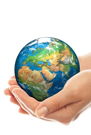 preservation: Human hand holding a globe. Stock Photo