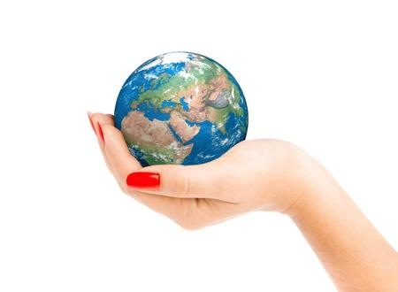 hand holding globe: Human hand holding a globe. Stock Photo