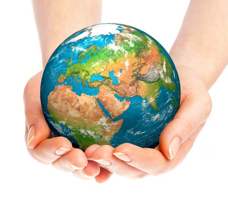 save environment: Human hand holding a globe. Stock Photo
