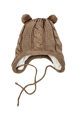 knit cap: Childrens winter hat isolated on a white background.