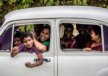census: KERALA, INDIA - FEBRUARY 17: Happy family travels the country, Kerala February 17, 2013 in India. India is the worlds second-most populous country. 1210193422 residents in the 2011 provisional census Editorial