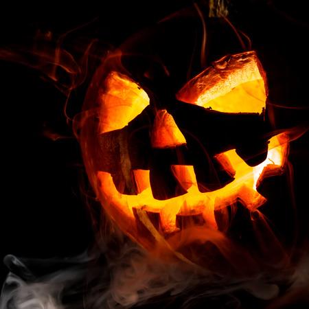 halloween ugly: Halloween - old jack-o-lantern on black background