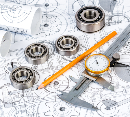 Technical drawings with the Ball bearings photo