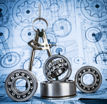 Technical drawings with the Ball bearings a blue toning photo