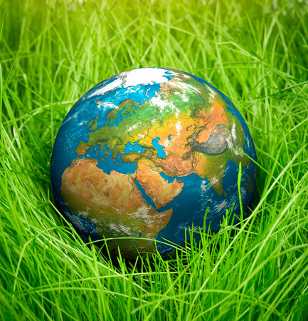 earth day: Globe lies on green grass. Concept - Earth Day.