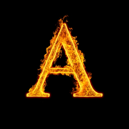 fire font: Fire alphabet letter A isolated on black background.