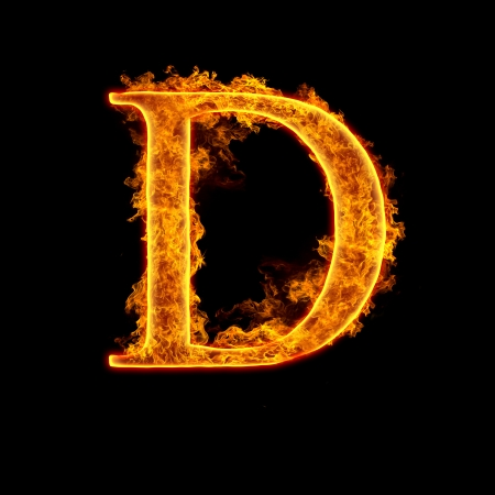 Fire alphabet letter D isolated on black background.