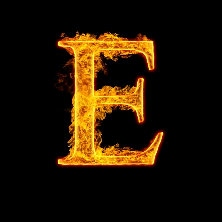 5414c276f119c Fire alphabet letter E isolated on black background.