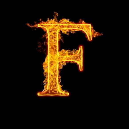 Fuego alfabeto letra F aislada sobre fondo negro. Foto de archivo - 22914112