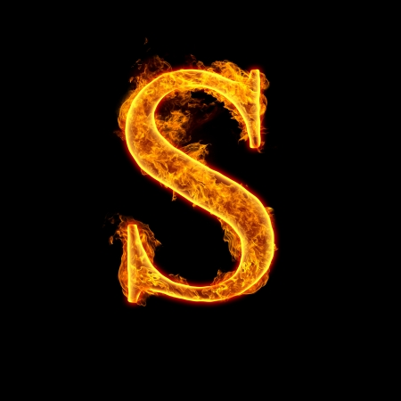 Fire alphabet letter S isolated on black background.