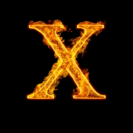 Fire alphabet letter X isolated on black background.