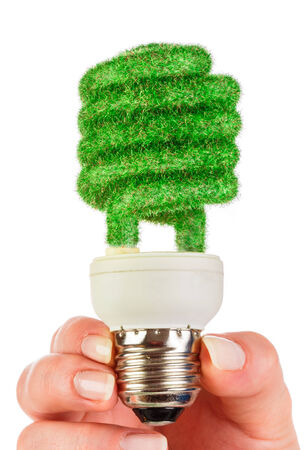 overuse: Eco light bulb in hand isolated on white background