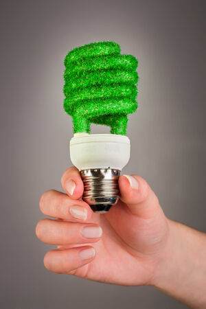 economize: Eco light bulb in hand on gray background