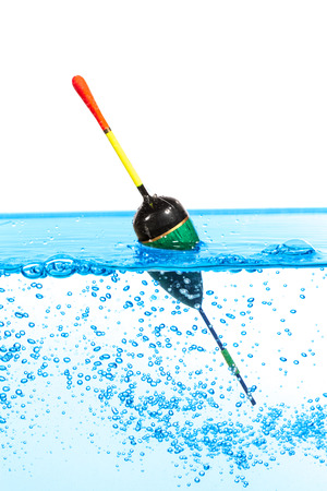 casting: Fishing float against the white background