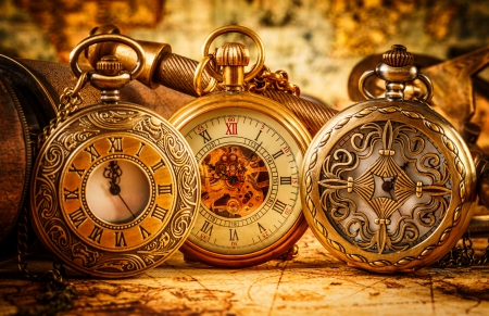 time of the year: Vintage Antique pocket watch.