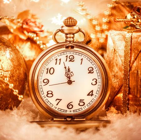 gold watch: Christmas pocket watch still life.